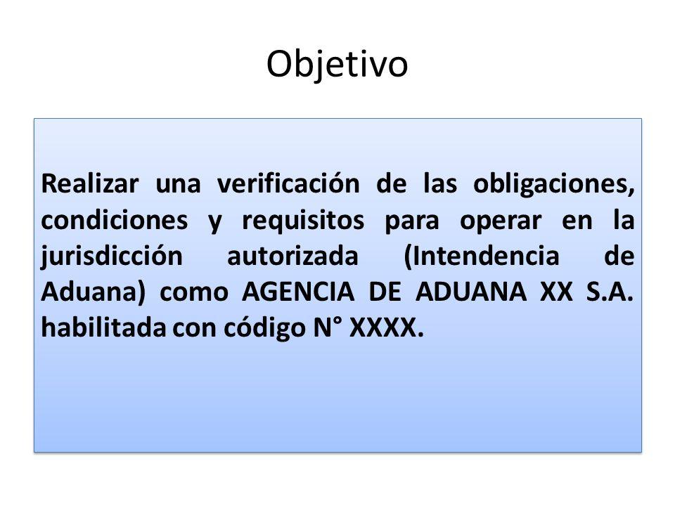 Objetivo Realizar una verificación de las obligaciones, condiciones y requisitos para operar en la jurisdicción autorizada (Intendencia de Aduana) com
