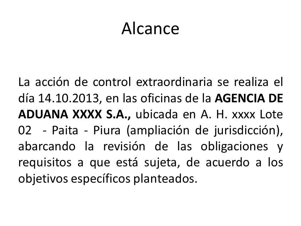 Alcance La acción de control extraordinaria se realiza el día 14.10.2013, en las oficinas de la AGENCIA DE ADUANA XXXX S.A., ubicada en A. H. xxxx Lot