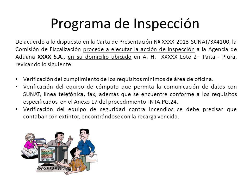 Programa de Inspección De acuerdo a lo dispuesto en la Carta de Presentación Nº XXXX-2013-SUNAT/3X4100, la Comisión de Fiscalización procede a ejecuta