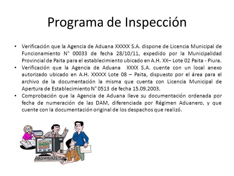 Programa de Inspección Verificación que la Agencia de Aduana XXXXX S.A. dispone de Licencia Municipal de Funcionamiento N° 00033 de fecha 28/10/11, ex