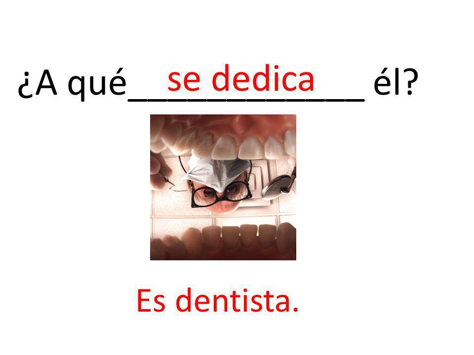 ¿A qué____________ él? se dedica Es dentista.