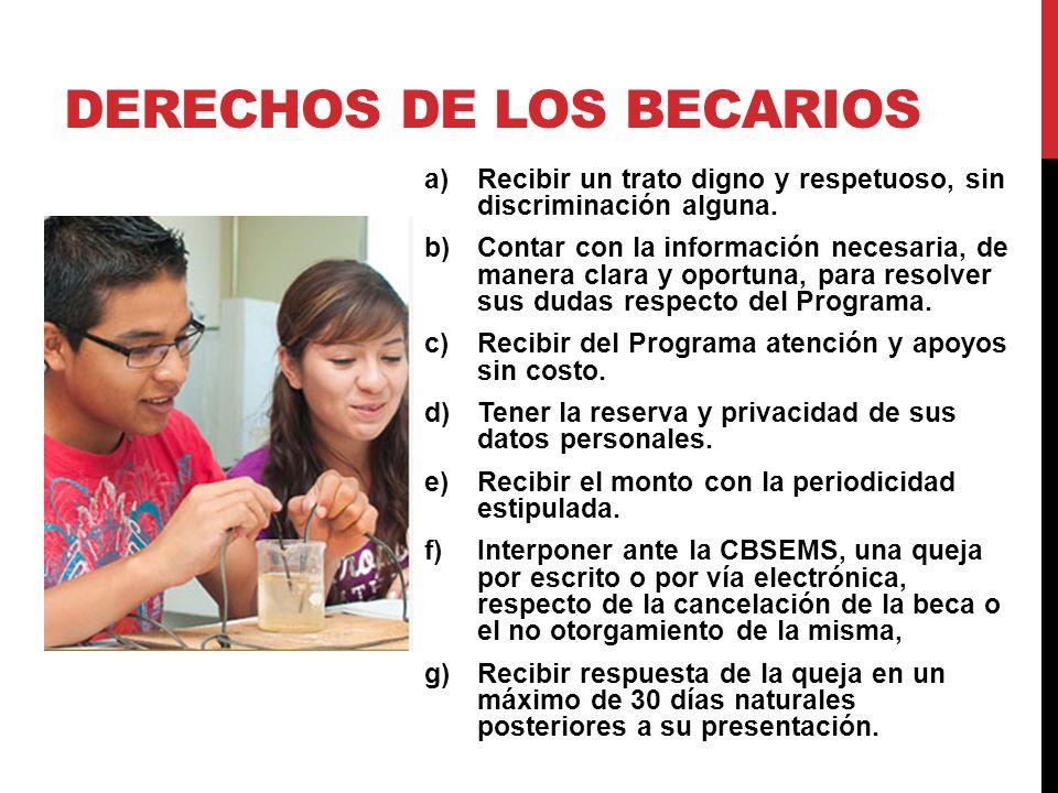 DERECHOS DE LOS BECARIOS a)Recibir un trato digno y respetuoso, sin discriminación alguna.