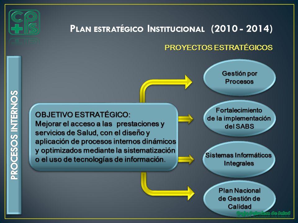 PROYECTOS ESTRATÉGICOS OBJETIVO ESTRATÉGICO: Mejorar el acceso a las prestaciones y servicios de Salud, con el diseño y aplicación de procesos interno