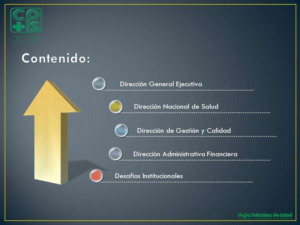Desafíos Institucionales Dirección General Ejecutiva Dirección Nacional de Salud Dirección Administrativa Financiera Dirección de Gestión y Calidad