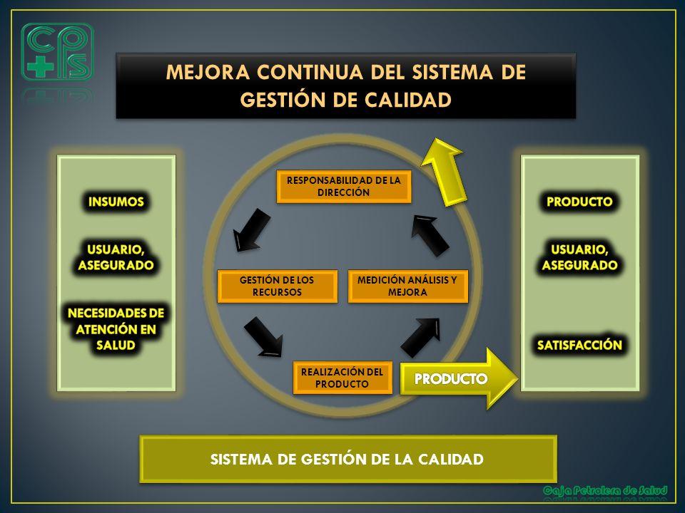 RESPONSABILIDAD DE LA DIRECCIÓN GESTIÓN DE LOS RECURSOS MEDICIÓN ANÁLISIS Y MEJORA REALIZACIÓN DEL PRODUCTO MEJORA CONTINUA DEL SISTEMA DE GESTIÓN DE