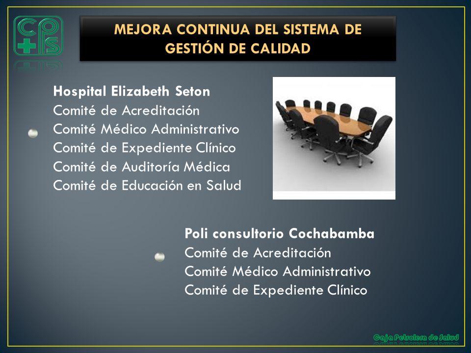 Hospital Elizabeth Seton Comité de Acreditación Comité Médico Administrativo Comité de Expediente Clínico Comité de Auditoría Médica Comité de Educaci