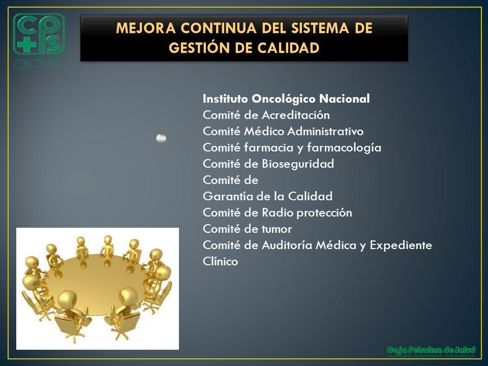 Instituto Oncológico Nacional Comité de Acreditación Comité Médico Administrativo Comité farmacia y farmacología Comité de Bioseguridad Comité de Gara