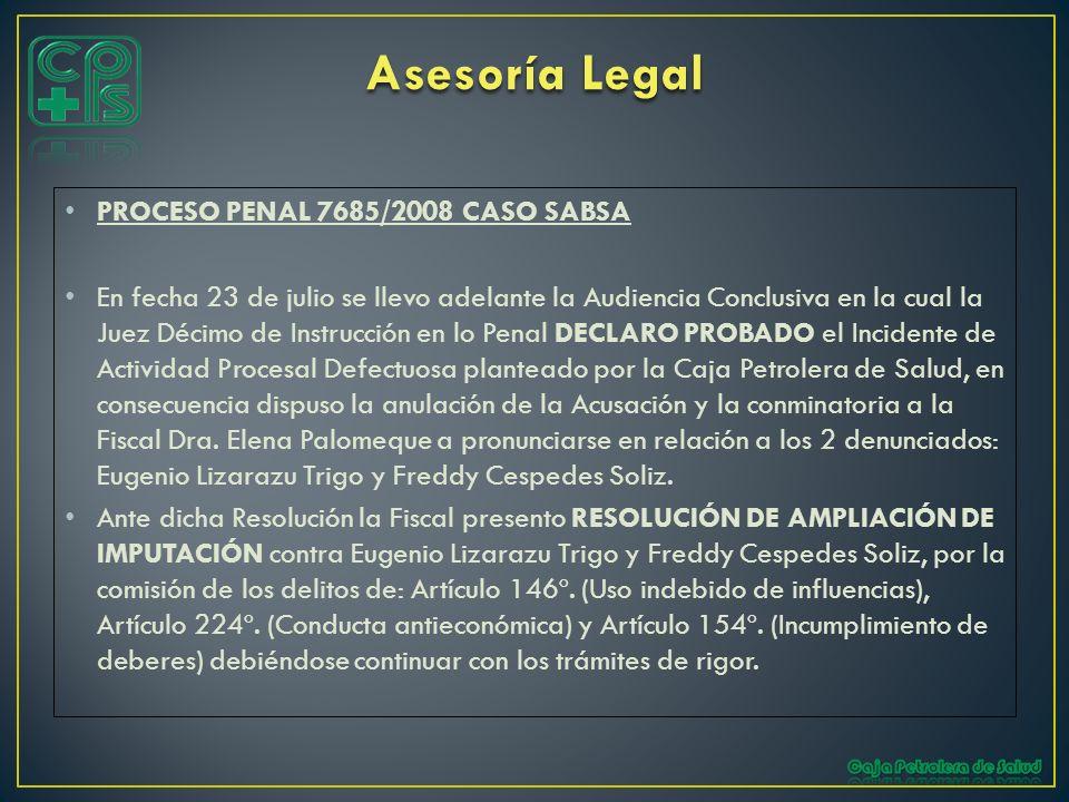 PROCESO PENAL 7685/2008 CASO SABSA En fecha 23 de julio se llevo adelante la Audiencia Conclusiva en la cual la Juez Décimo de Instrucción en lo Penal
