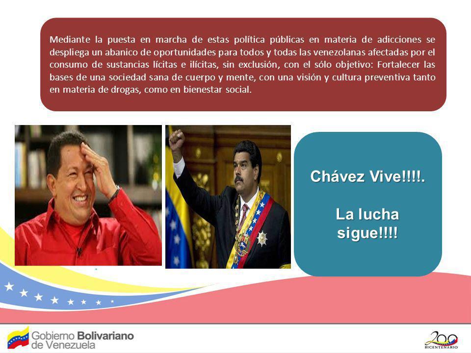 Mediante la puesta en marcha de estas política públicas en materia de adicciones se despliega un abanico de oportunidades para todos y todas las venez