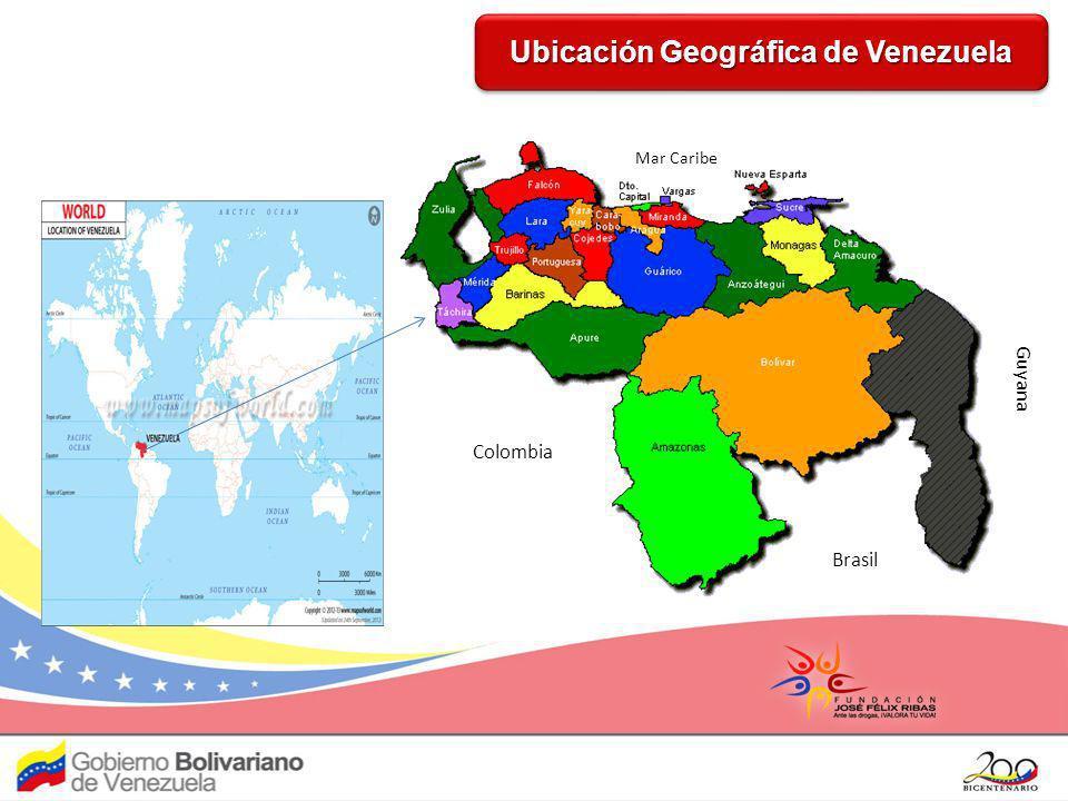 Titulo Ubicación Geográfica de Venezuela Colombia Brasil Mar Caribe Guyana