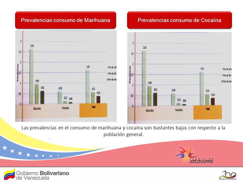 Prevalencias consumo de Marihuana Prevalencias consumo de Cocaína Las prevalencias en el consumo de marihuana y cocaína son bastantes bajas con respec
