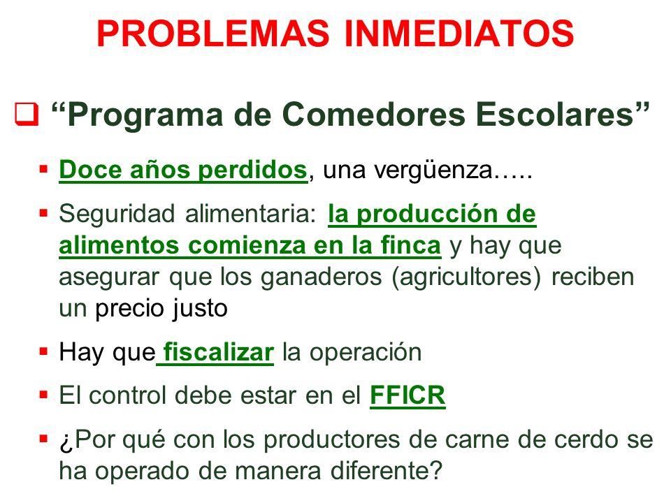 PROBLEMAS INMEDIATOS Programa de Comedores Escolares Doce años perdidos, una vergüenza…..