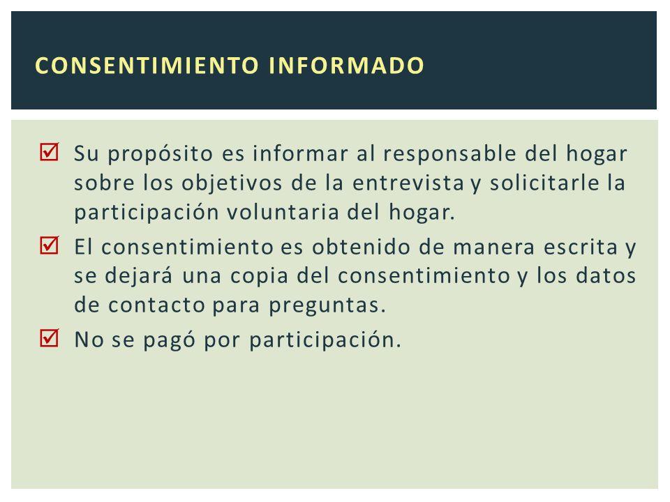 Su propósito es informar al responsable del hogar sobre los objetivos de la entrevista y solicitarle la participación voluntaria del hogar.