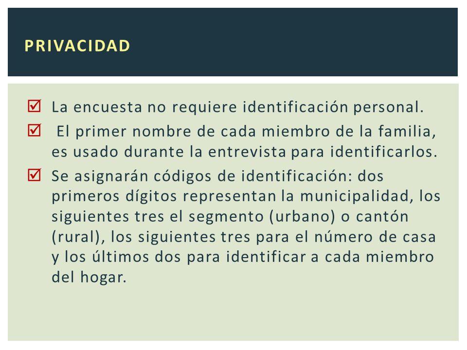 La encuesta no requiere identificación personal.