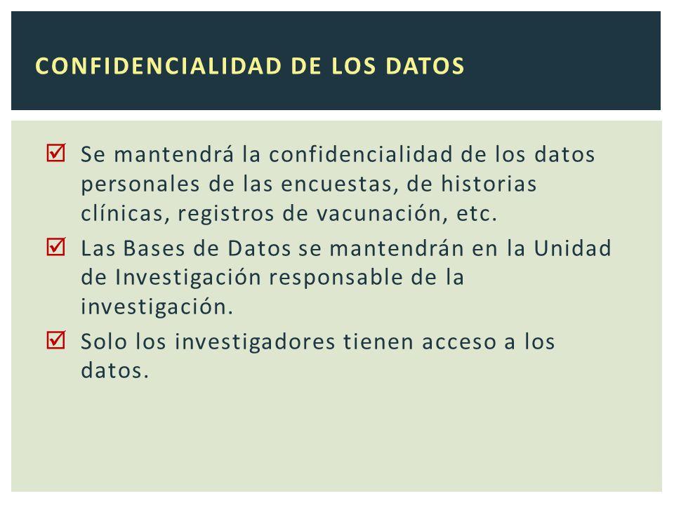 Se mantendrá la confidencialidad de los datos personales de las encuestas, de historias clínicas, registros de vacunación, etc.
