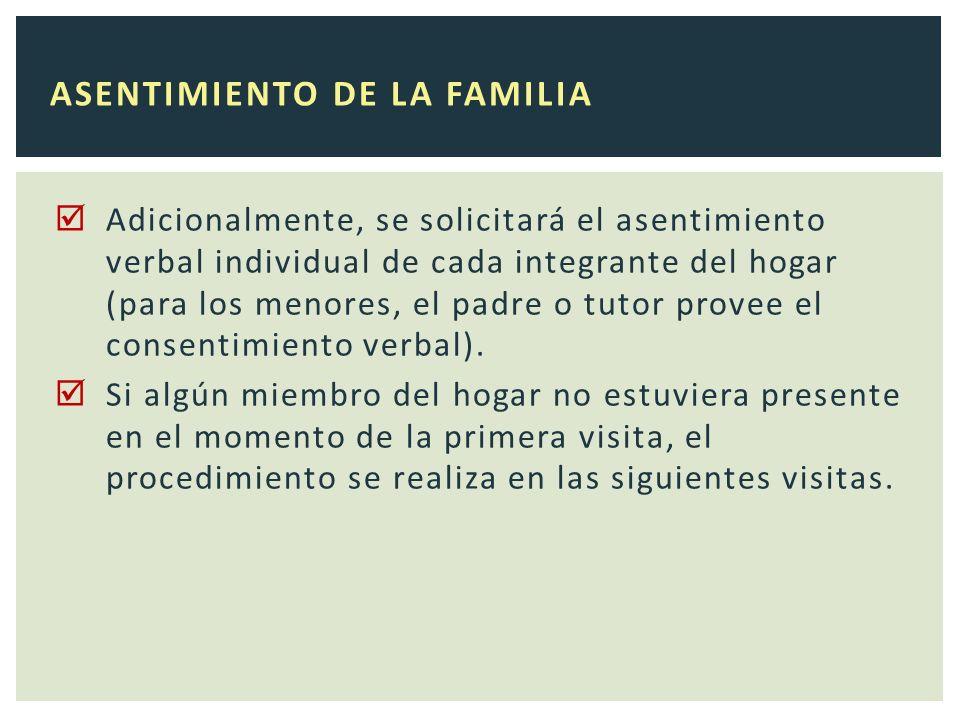 Adicionalmente, se solicitará el asentimiento verbal individual de cada integrante del hogar (para los menores, el padre o tutor provee el consentimiento verbal).