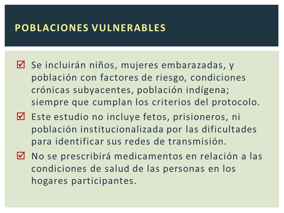 Se incluirán niños, mujeres embarazadas, y población con factores de riesgo, condiciones crónicas subyacentes, población indígena; siempre que cumplan los criterios del protocolo.