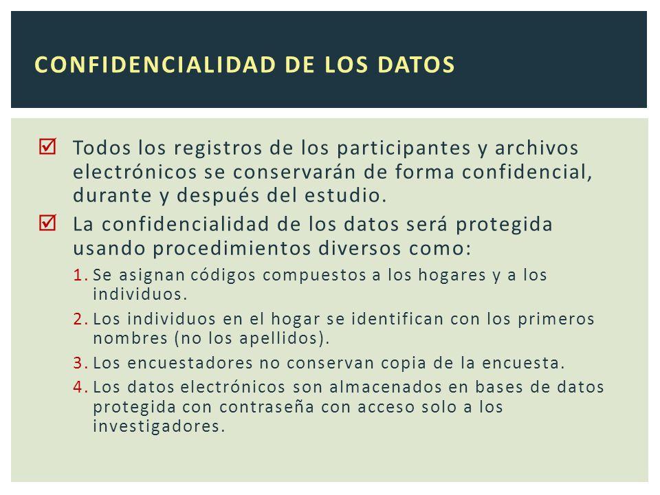 Todos los registros de los participantes y archivos electrónicos se conservarán de forma confidencial, durante y después del estudio.
