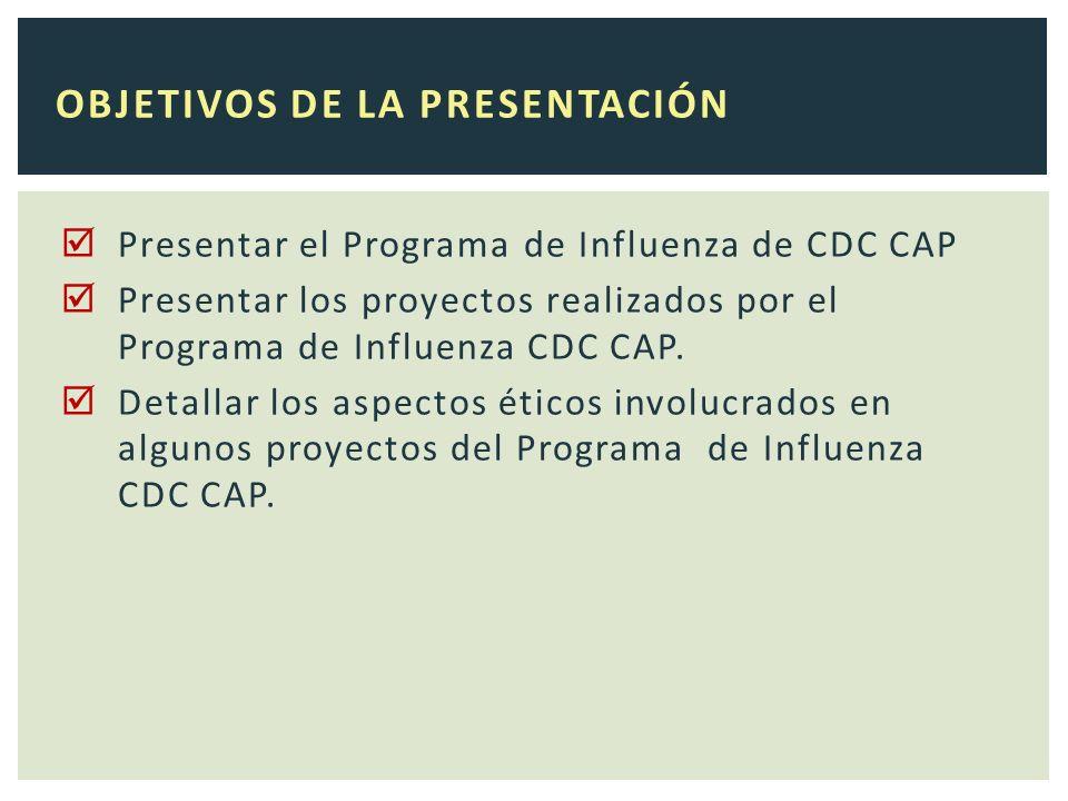 Presentar el Programa de Influenza de CDC CAP Presentar los proyectos realizados por el Programa de Influenza CDC CAP.