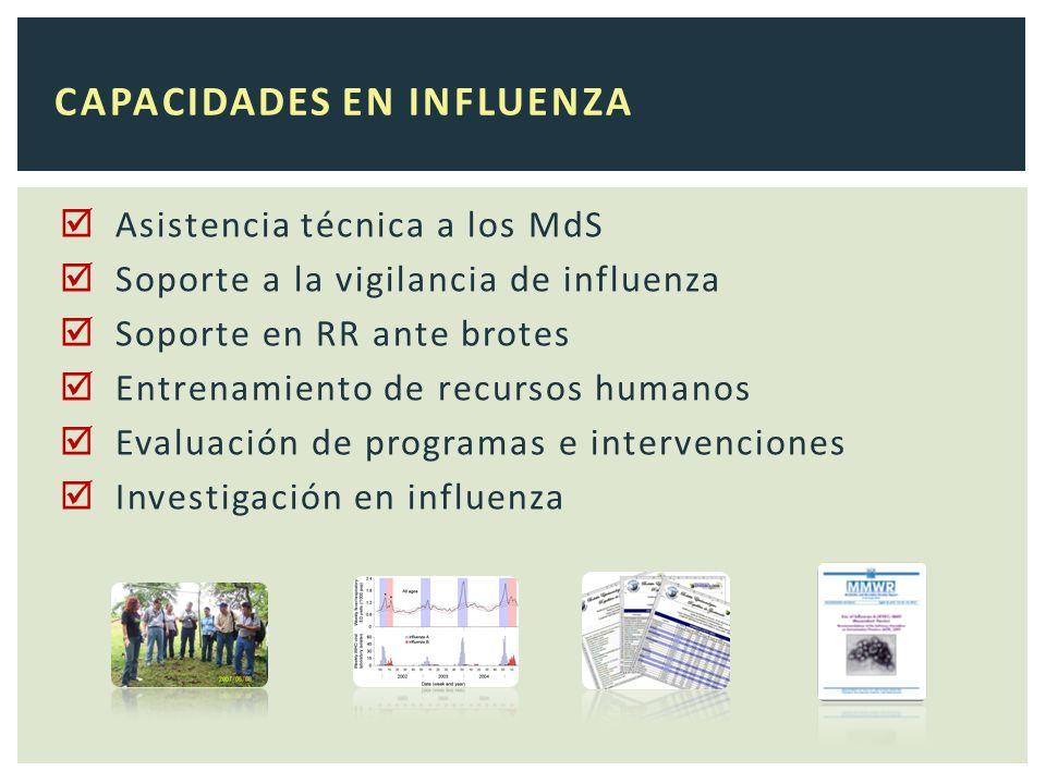CAPACIDADES EN INFLUENZA Asistencia técnica a los MdS Soporte a la vigilancia de influenza Soporte en RR ante brotes Entrenamiento de recursos humanos Evaluación de programas e intervenciones Investigación en influenza