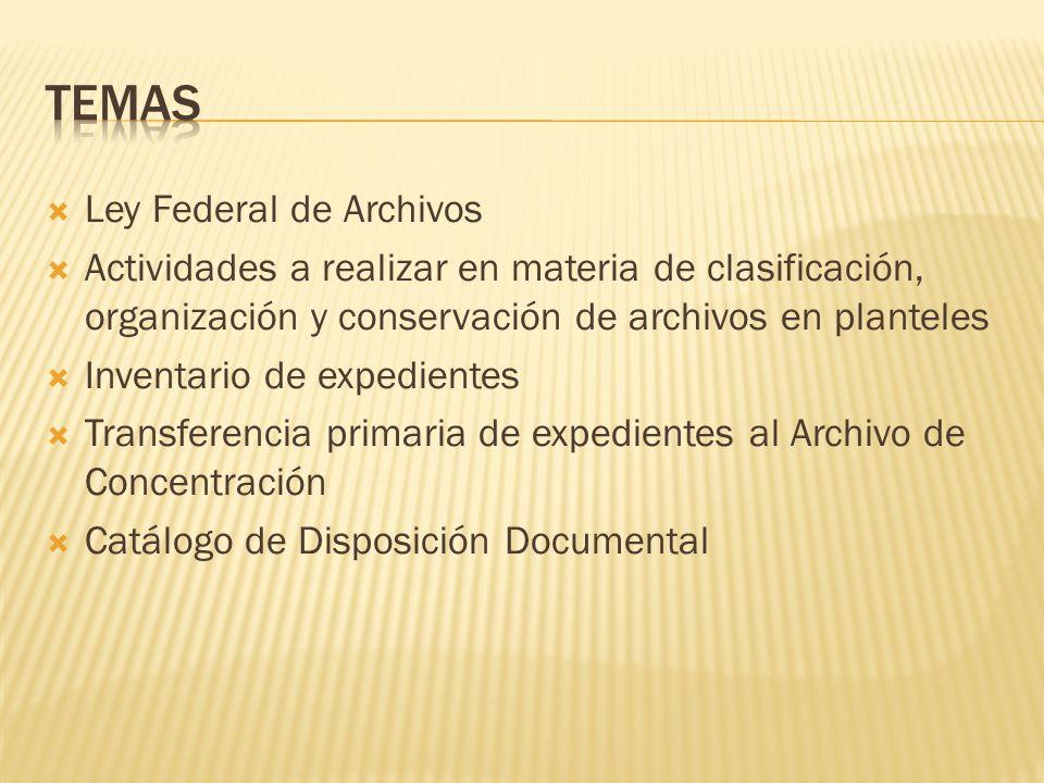 Ley Federal de Archivos Actividades a realizar en materia de clasificación, organización y conservación de archivos en planteles Inventario de expedie
