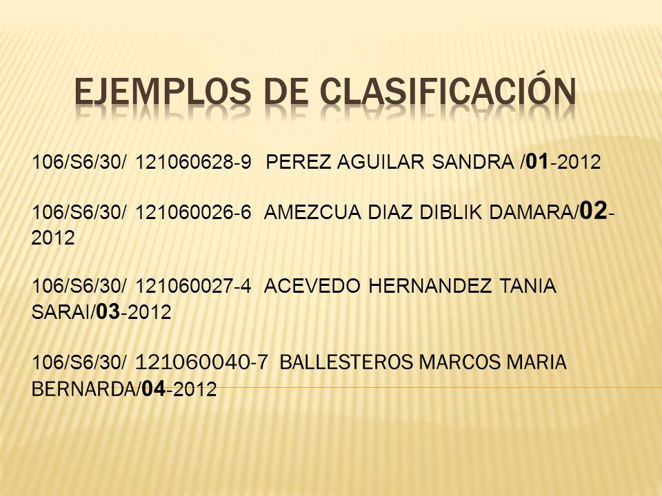 106/S6/30/ 121060628-9 PEREZ AGUILAR SANDRA / 01 -2012 106/S6/30/ 121060026-6 AMEZCUA DIAZ DIBLIK DAMARA/ 02 - 2012 106/S6/30/ 121060027-4 ACEVEDO HER