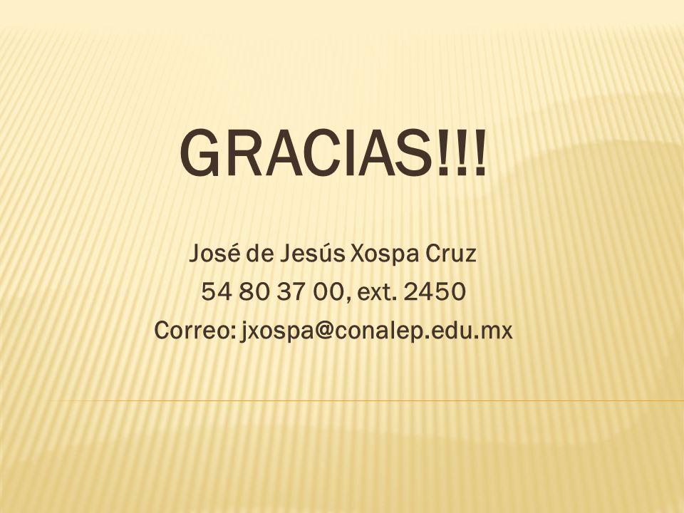 GRACIAS!!! José de Jesús Xospa Cruz 54 80 37 00, ext. 2450 Correo: jxospa@conalep.edu.mx
