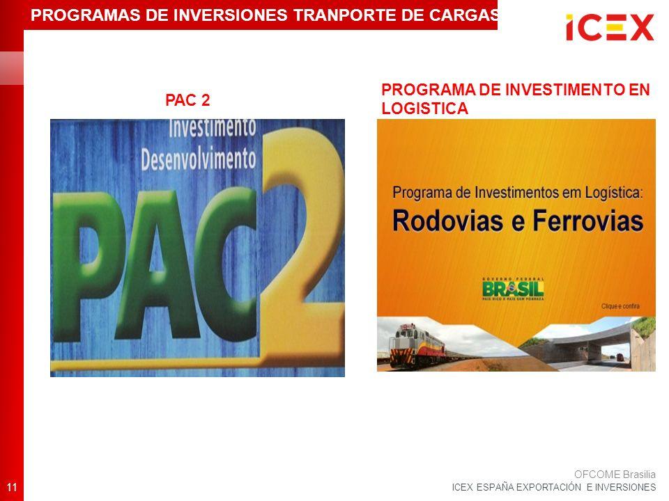 ICEX ESPAÑA EXPORTACIÓN E INVERSIONES 11 OFCOME Brasilia PROGRAMAS DE INVERSIONES TRANPORTE DE CARGAS PAC 2 PROGRAMA DE INVESTIMENTO EN LOGISTICA