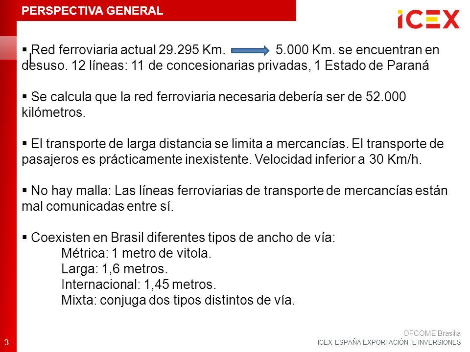 ICEX ESPAÑA EXPORTACIÓN E INVERSIONES l 3 OFCOME Brasilia PERSPECTIVA GENERAL Red ferroviaria actual 29.295 Km. 5.000 Km. se encuentran en desuso. 12