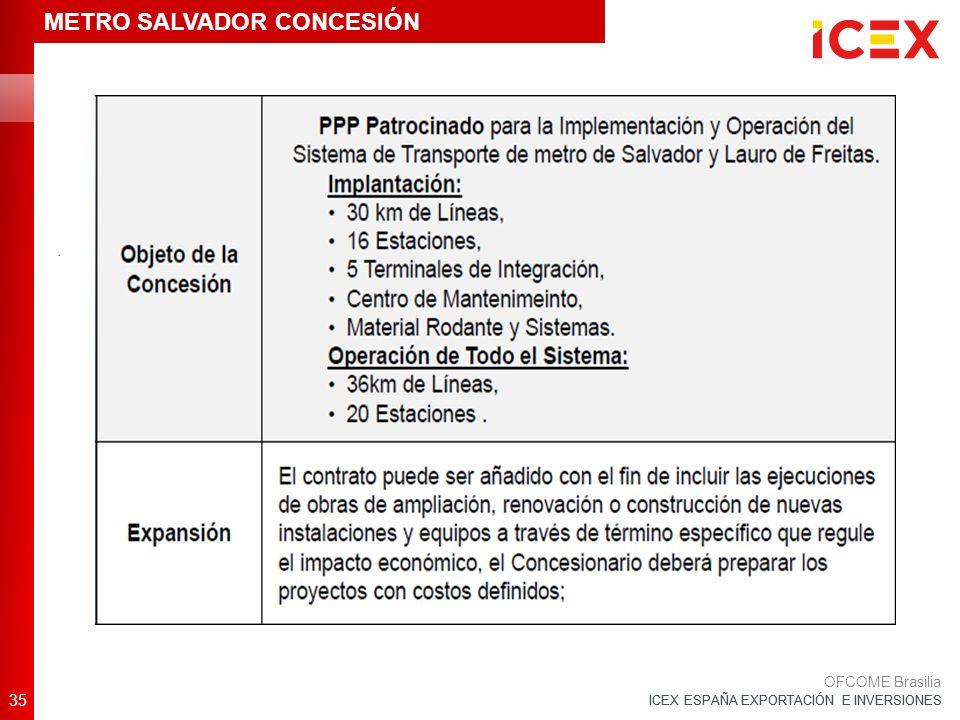 ICEX ESPAÑA EXPORTACIÓN E INVERSIONES 35 OFCOME Brasilia. METRO SALVADOR CONCESIÓN