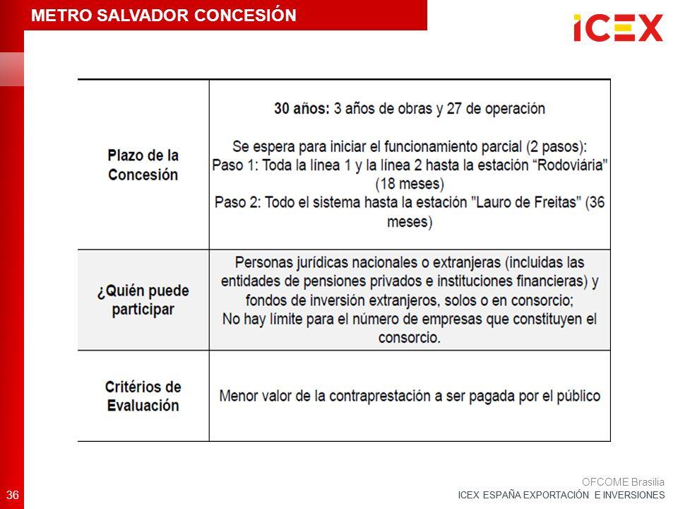 ICEX ESPAÑA EXPORTACIÓN E INVERSIONES 36 OFCOME Brasilia METRO SALVADOR CONCESIÓN