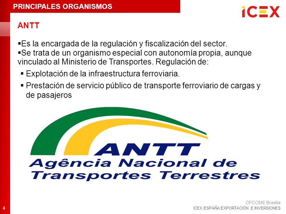 ICEX ESPAÑA EXPORTACIÓN E INVERSIONES ANTT Es la encargada de la regulación y fiscalización del sector. Se trata de un organismo especial con autonomí