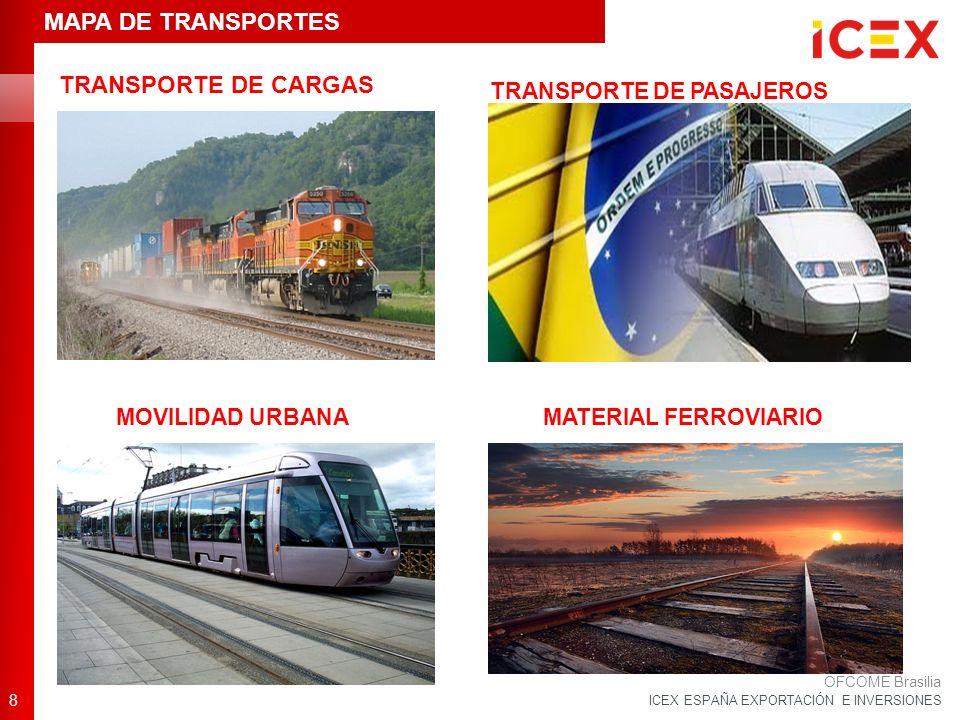 ICEX ESPAÑA EXPORTACIÓN E INVERSIONES TRANSPORTE DE CARGAS 8 OFCOME Brasilia TRANSPORTE DE PASAJEROS MATERIAL FERROVIARIOMOVILIDAD URBANA MAPA DE TRANSPORTES