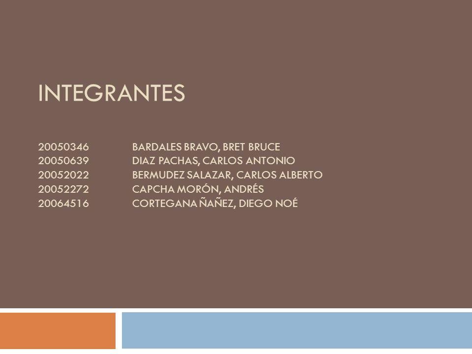 INTEGRANTES 20050346BARDALES BRAVO, BRET BRUCE 20050639DIAZ PACHAS, CARLOS ANTONIO 20052022BERMUDEZ SALAZAR, CARLOS ALBERTO 20052272CAPCHA MORÓN, ANDRÉS 20064516CORTEGANA ÑAÑEZ, DIEGO NOÉ