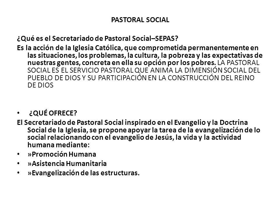 PASTORAL SOCIAL ¿Qué es el Secretariado de Pastoral Social–SEPAS? Es la acción de la Iglesia Católica, que comprometida permanentemente en las situaci