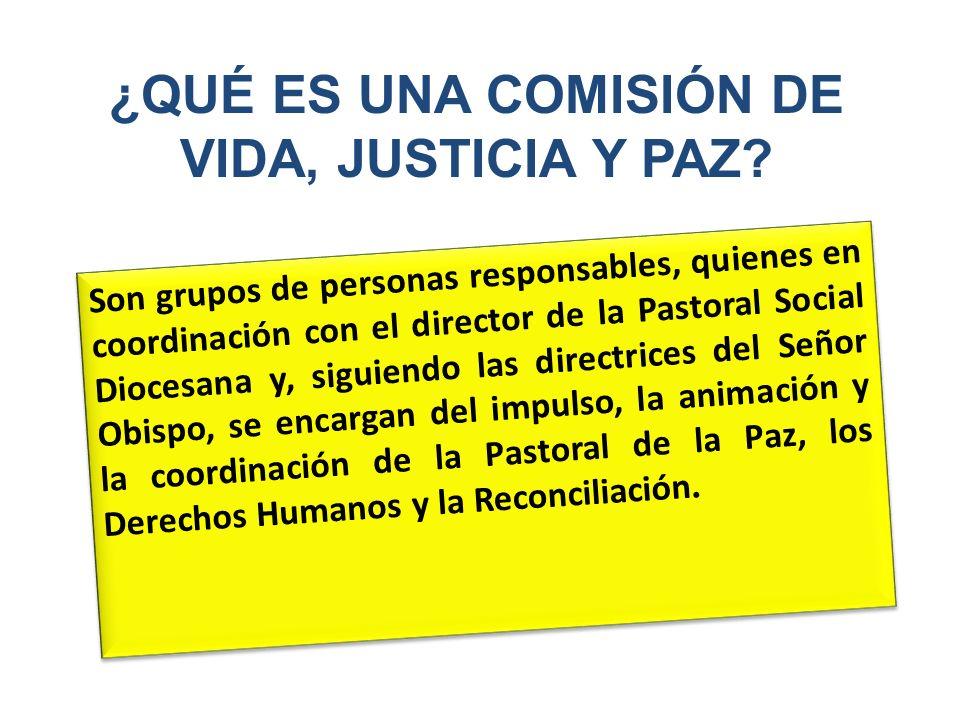 ¿QUÉ ES UNA COMISIÓN DE VIDA, JUSTICIA Y PAZ? Son grupos de personas responsables, quienes en coordinación con el director de la Pastoral Social Dioce