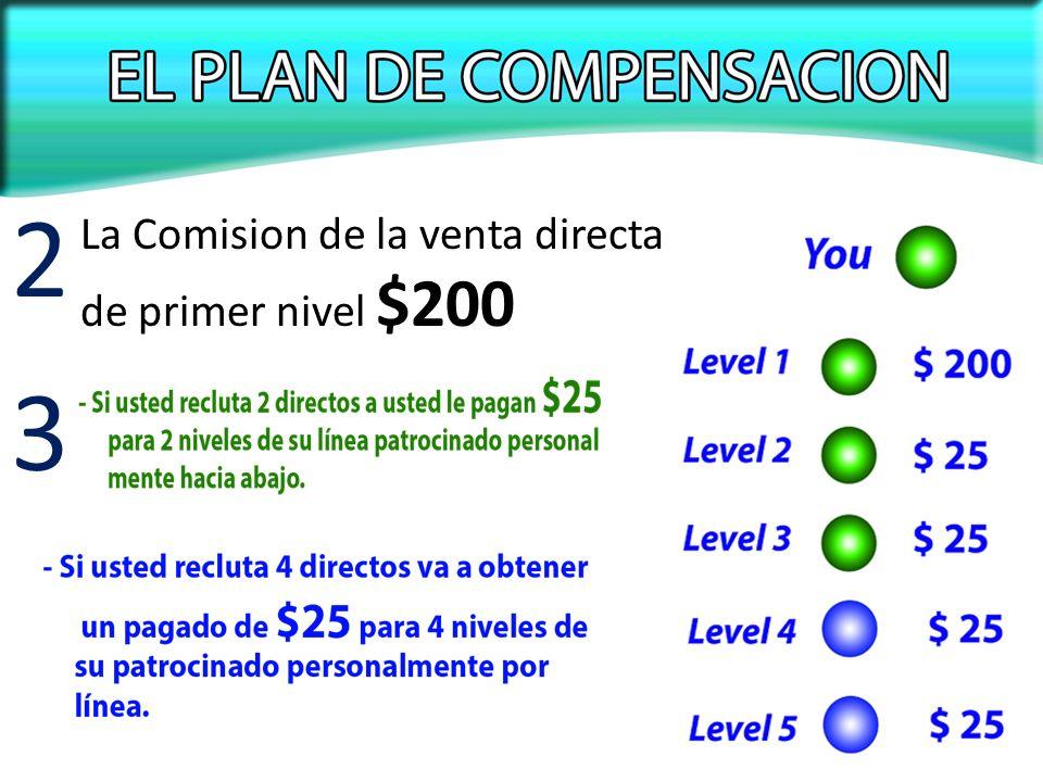La Comision de la venta directa de primer nivel $200 2 3