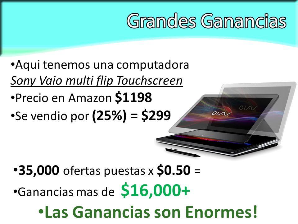 Aqui tenemos una computadora Sony Vaio multi flip Touchscreen Precio en Amazon $1198 35,000 ofertas puestas x $0.50 = Ganancias mas de $16,000+ Las Ganancias son Enormes.