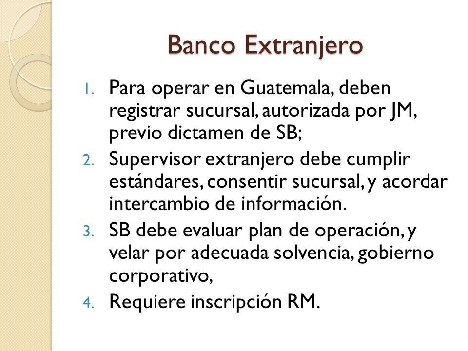Banco Extranjero 1. Para operar en Guatemala, deben registrar sucursal, autorizada por JM, previo dictamen de SB; 2. Supervisor extranjero debe cumpli