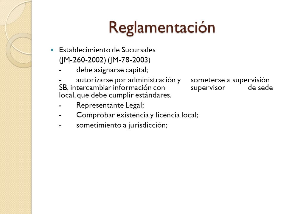 Otra Normativa Reglamentaria Cálculo Capital Mínimo: JM-105-2003 Retiro de Sucursal: JM-27-2006