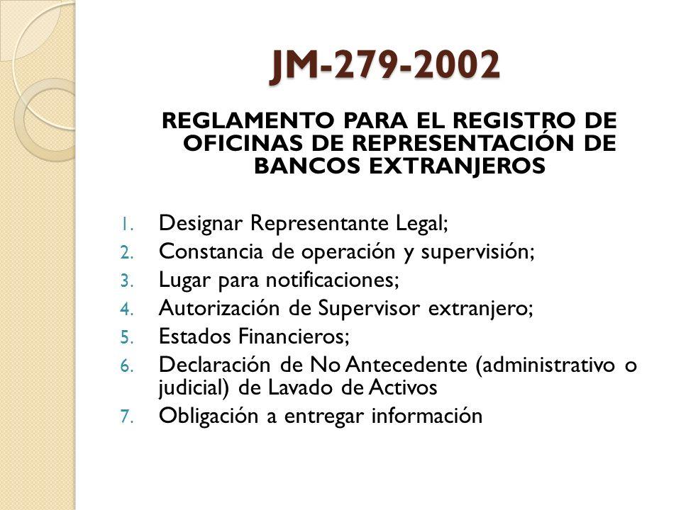 JM-279-2002 REGLAMENTO PARA EL REGISTRO DE OFICINAS DE REPRESENTACIÓN DE BANCOS EXTRANJEROS 1. Designar Representante Legal; 2. Constancia de operació