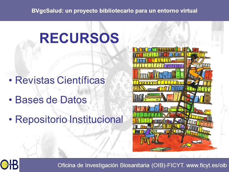 BVgcSalud: un proyecto bibliotecario para un entorno virtual Oficina de Investigación Biosanitaria (OIB)-FICYT. www.ficyt.es/oib RECURSOS Revistas Cie