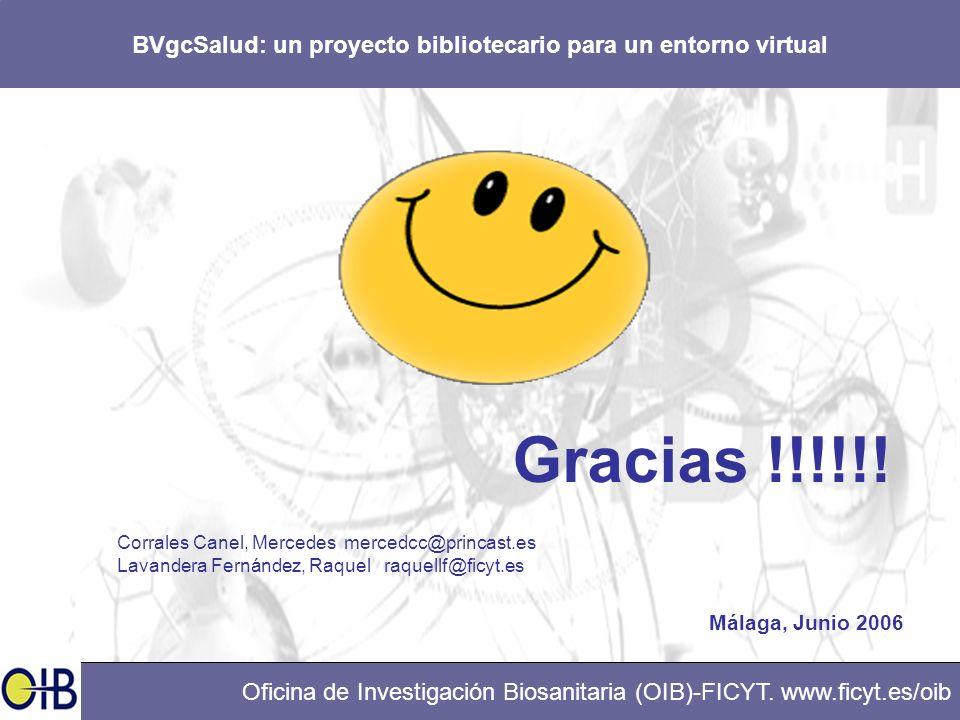BVgcSalud: un proyecto bibliotecario para un entorno virtual Oficina de Investigación Biosanitaria (OIB)-FICYT. www.ficyt.es/oib Gracias !!!!!! Corral