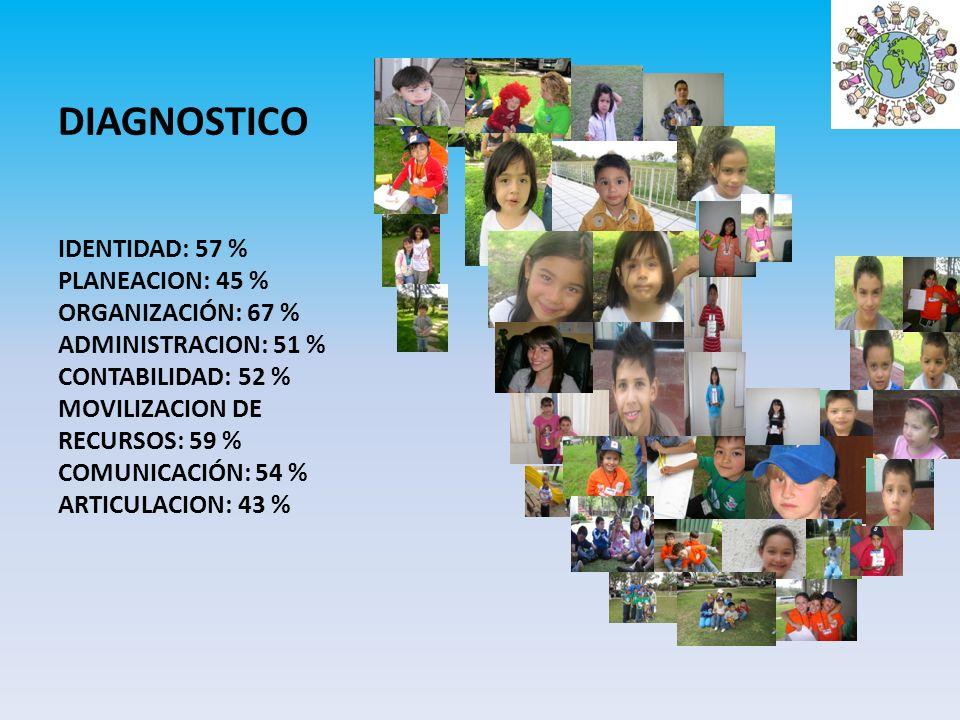 DIAGNOSTICO IDENTIDAD: 57 % PLANEACION: 45 % ORGANIZACIÓN: 67 % ADMINISTRACION: 51 % CONTABILIDAD: 52 % MOVILIZACION DE RECURSOS: 59 % COMUNICACIÓN: 5