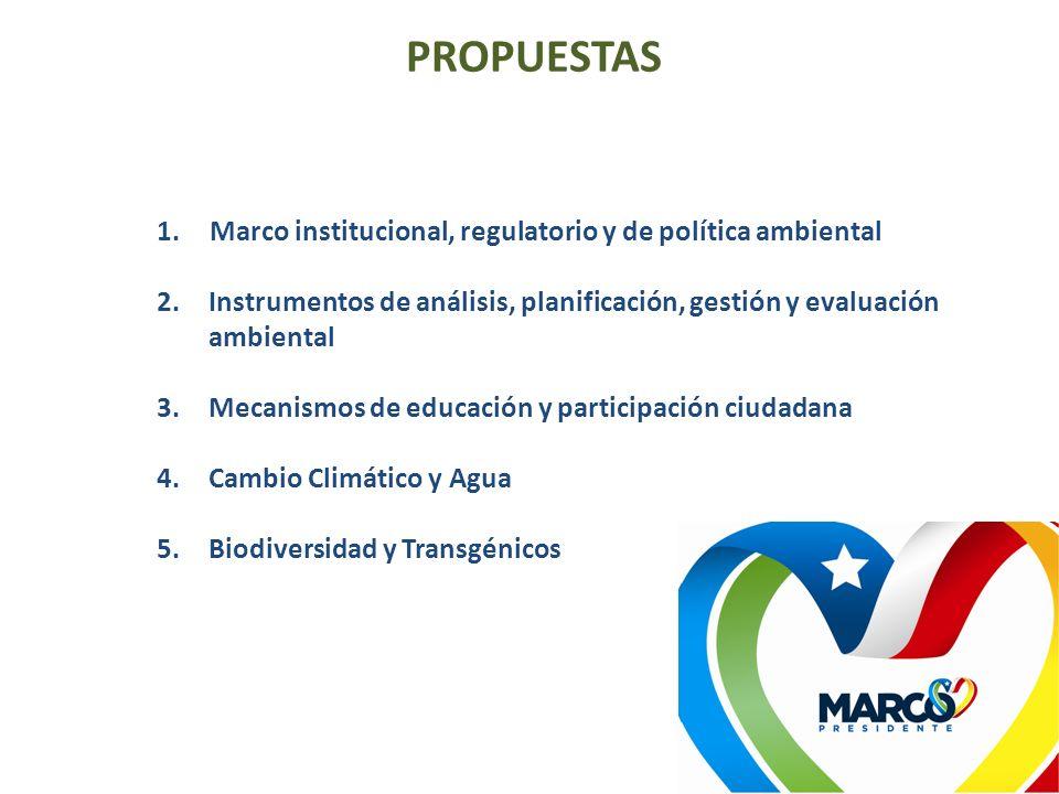 1.Marco institucional, regulatorio y de política ambiental 2.Instrumentos de análisis, planificación, gestión y evaluación ambiental 3.Mecanismos de e