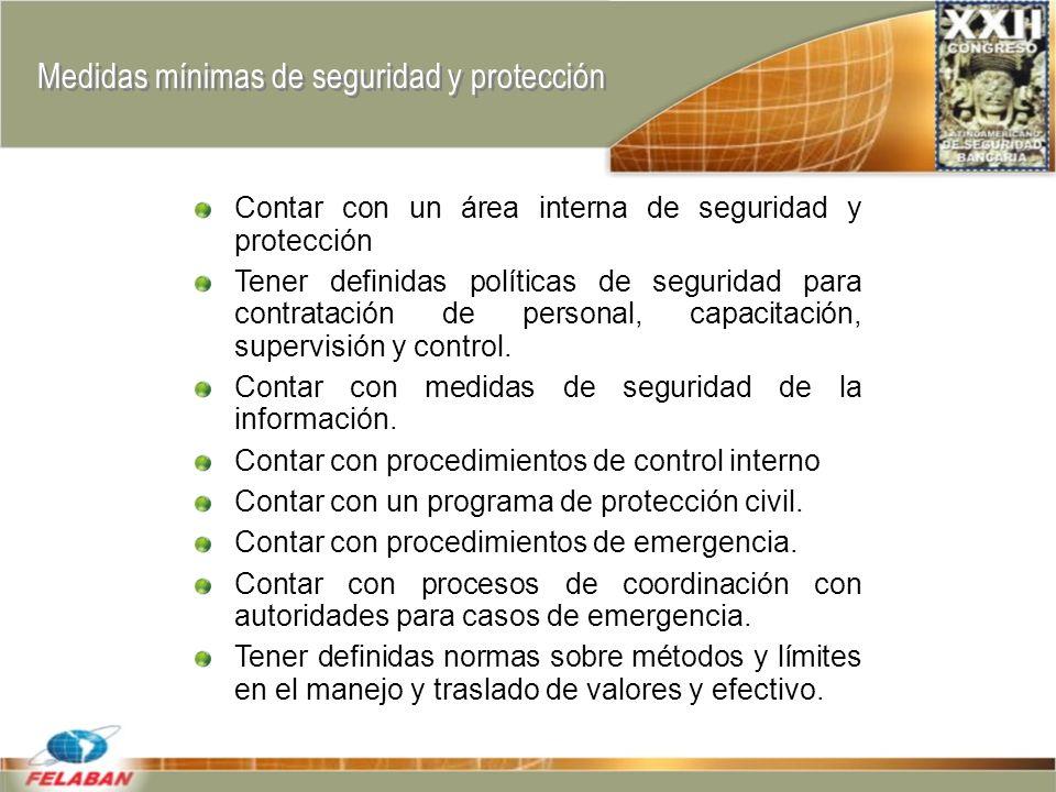 Medidas mínimas de seguridad y protección Contar con un área interna de seguridad y protección Tener definidas políticas de seguridad para contratación de personal, capacitación, supervisión y control.
