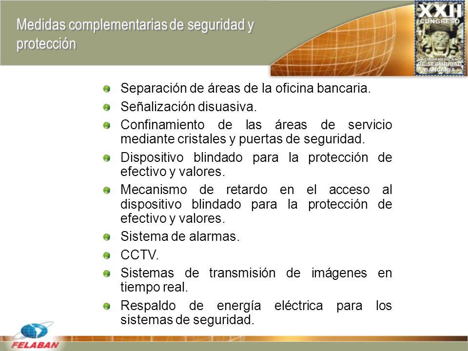 Medidas complementarias de seguridad y protección Separación de áreas de la oficina bancaria.