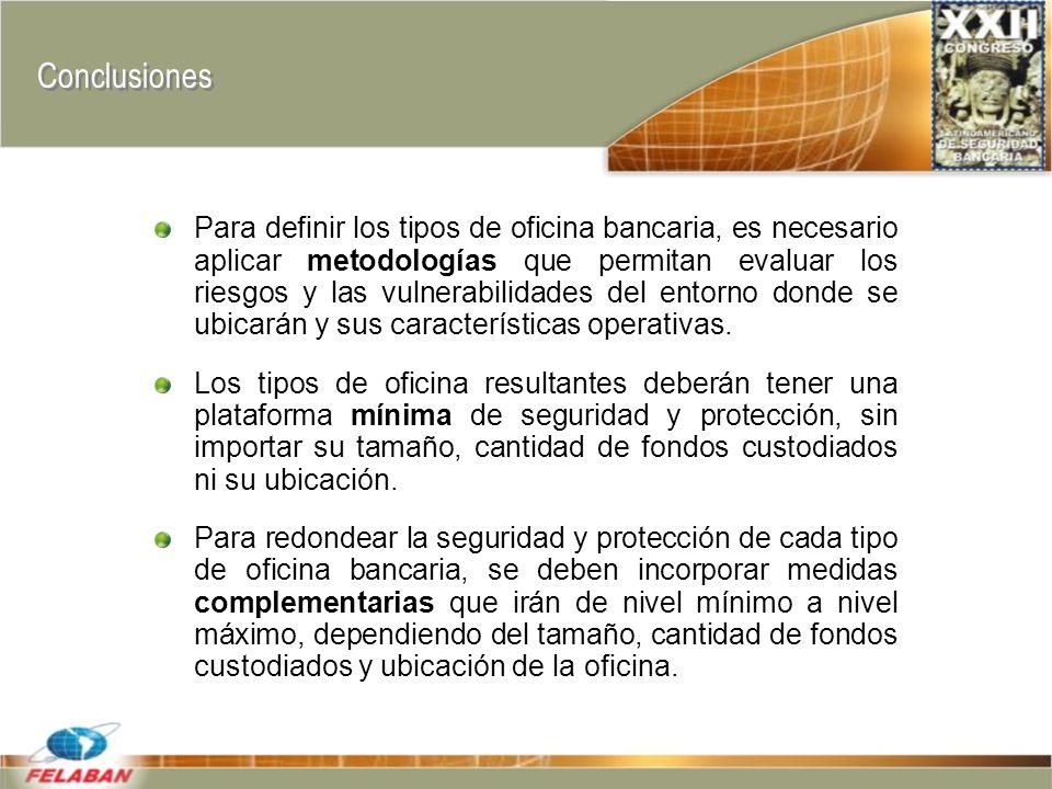 Conclusiones Para definir los tipos de oficina bancaria, es necesario aplicar metodologías que permitan evaluar los riesgos y las vulnerabilidades del entorno donde se ubicarán y sus características operativas.