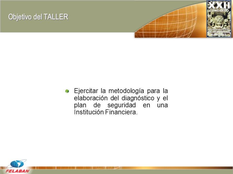 Objetivo del TALLER Ejercitar la metodología para la elaboración del diagnóstico y el plan de seguridad en una Institución Financiera.