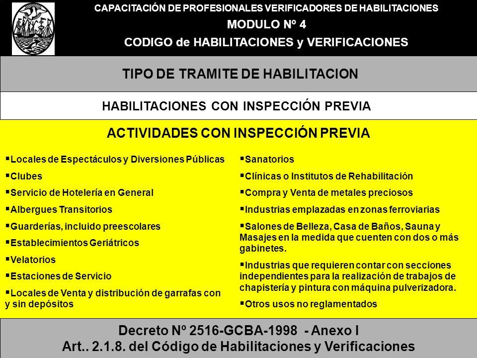 CAPACITACIÓN DE PROFESIONALES VERIFICADORES DE HABILITACIONES MODULO Nº 4 CODIGO de HABILITACIONES y VERIFICACIONES TIPO DE TRAMITE DE HABILITACION HA